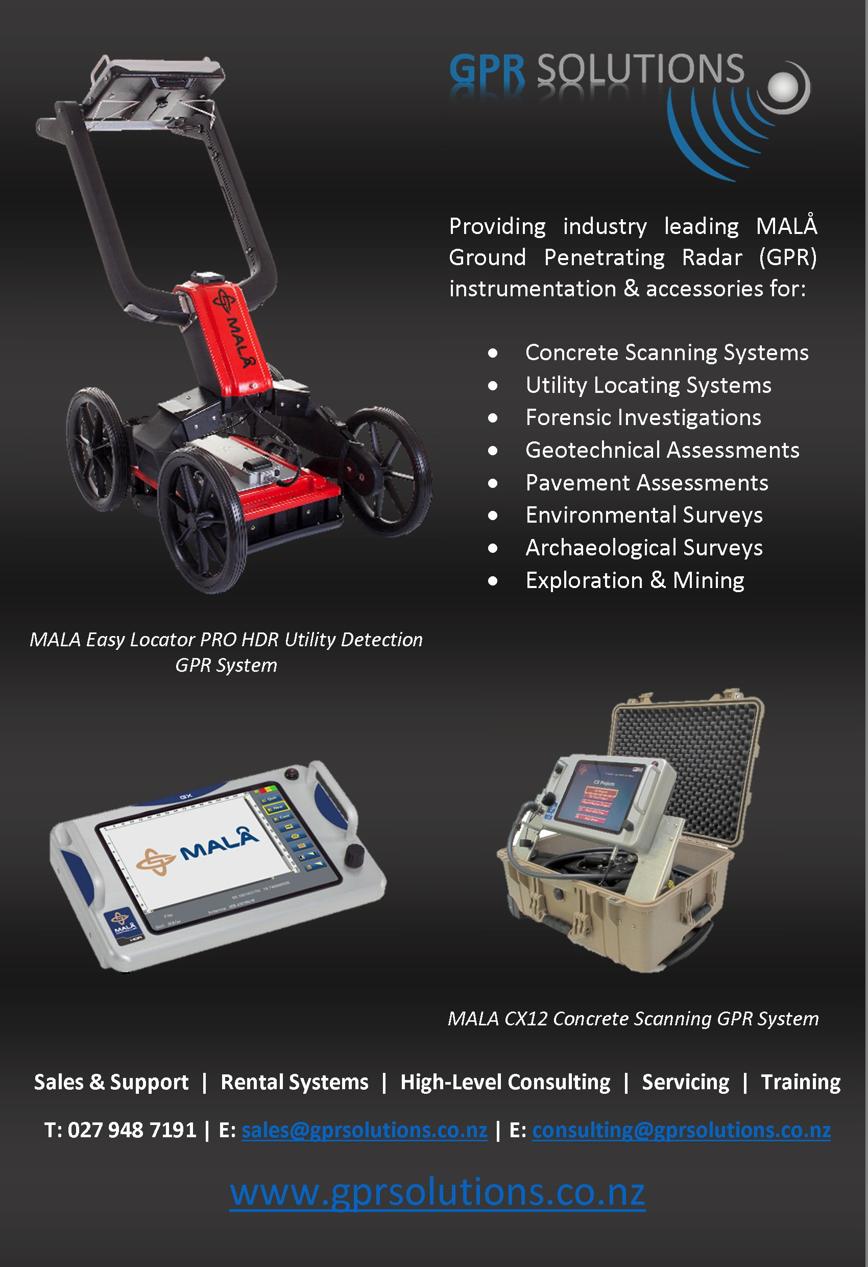GPR Resource Data Base, MALA GPR Systems  Brochures